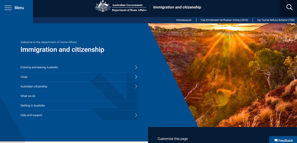 وزارة الهجرة الاسترالية الموقع الرسمي
