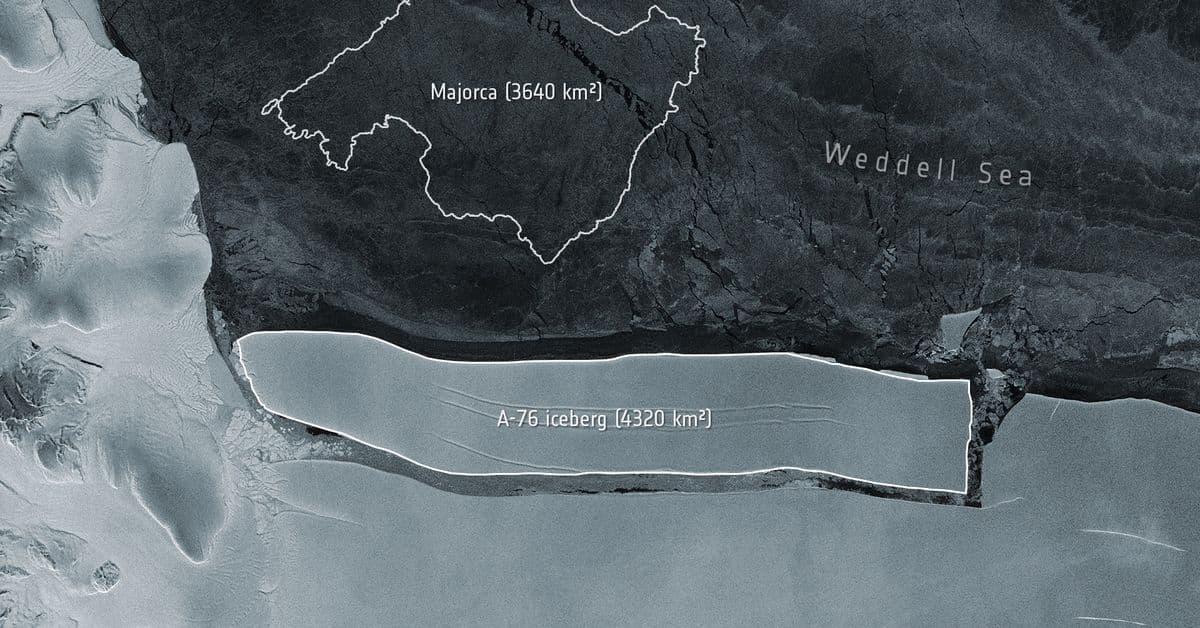انفصال أكبر جبل جليدي في العالم عن القارة القطبية الجنوبية